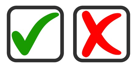 Icons yes and no, voting for and against, vector green tick and red cross in the voting square, Questionnaire selection symbols Ilustrace