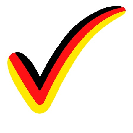 check mark style Germany flag symbol elections, voting and approval, vector concept check mark Germany tick DE Illustration