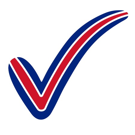 check mark style USA, Australia, New Zealand, United Kingdom flag symbol elections, voting and approval, vector concept check mark  tick