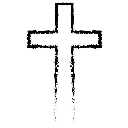 Sinal transversal cristão tirado transversal cristão abstrato do estilo do preto à disposição, símbolo transversal pintado à mão criado com a escova real da tinta isolada no fundo branco.
