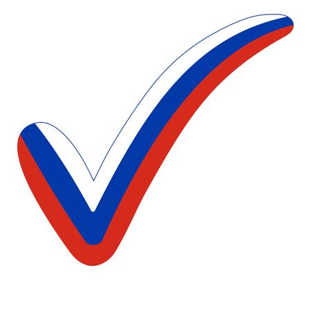 Check mark style Russia flag symbol elections, voting and approval, vector concept check mark Russian Federation tick RU, presidential elections Putin.