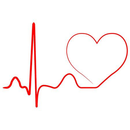 Hospital heart logo with pulse, heart beat icon, vector concept of healthy lifestyle, sport and fitness Vectores