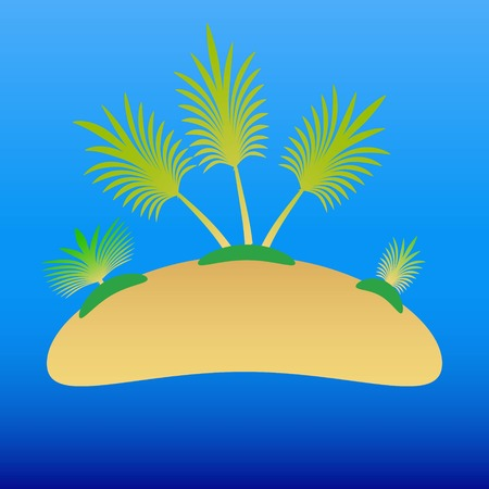 Template advertising a travel uninhabited island with palm trees on the back of a clear blue sea, clear water for summer holidays.