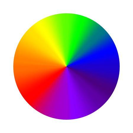 Circulaire arc-en-ciel dégradé, vecteur palette de couleurs rondes cône dégradé arc-en-ciel, Hex sept couleurs