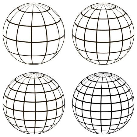 Conjunto de globo de bola 3D modelo de la esfera de tierra con una cuadrícula de coordenadas, globo de vector con meridiano y paralelo, longitud, plantilla de mapa
