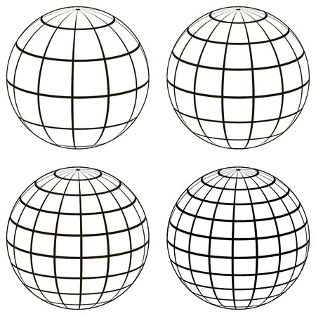 Set 3D ball globe model of the earth sphere with a coordinate grid, vector globe with meridian and parallel, longitude, map template