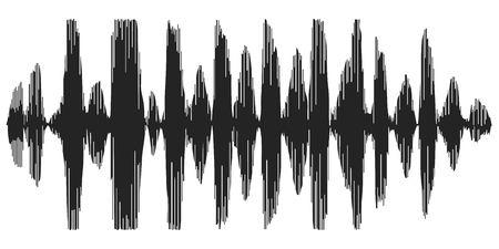 Les ondes sonores enregistrent le discours, la réverbération, l'icône du vecteur synthétiseur vocal, le spectrogramme des ondes acoustiques