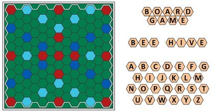 Gioco da tavolo Bee hive, sviluppo erudizione, ape tavola a nido d'ape e lettere scrabble, vettore gioco da tavolo per la famiglia per giocare di notte, scrivere le parole dalle lettere