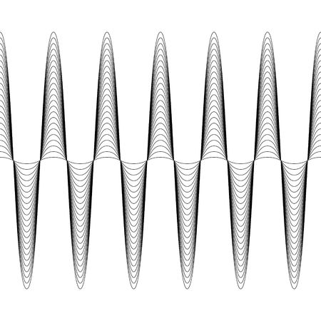 Set of waves with augmented amplitude, the vector of increasing amplitude of the wave is seamless, criss cross horizontal curvy lines Illustration