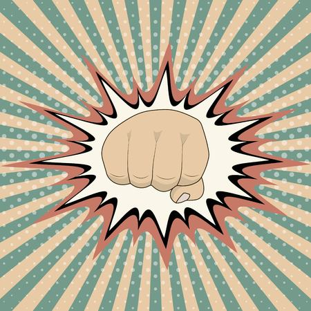 Vector pop art cartoon fist with comic book crash explosion graph, Vintage Pop Art Punching Fist Clenched hitting Illustration