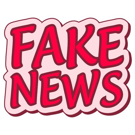 hoax: Fake news sticker retro speech balloon.