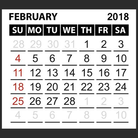 calendar sheet February  2018,  simple style. Week starts from sunday of the red color, vector easy to edit Illustration