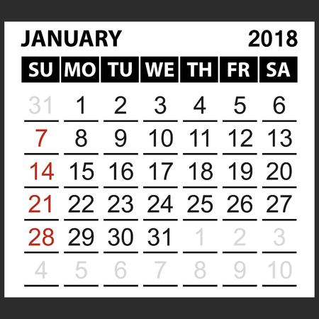 calendar sheet January 2018,  simple style. Week starts from sunday of the red color, vector easy to edit
