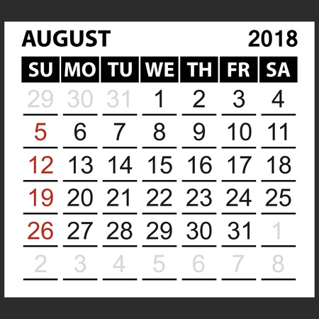 calendar sheet August 2018,  simple style. Week starts from sunday of the red color, vector easy to edit