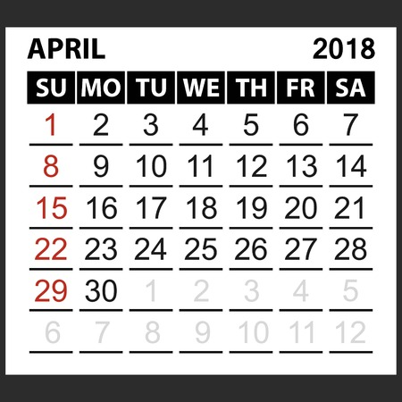 calendar sheet April  2018,  simple style. Week starts from sunday of the red color, vector easy to edit