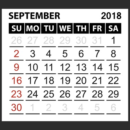 calendar sheet September 2018,  simple style. Week starts from sunday of the red color, vector easy to edit