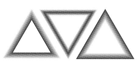 Set Triangle halftone effect, vector template for the design of a triangle with the stroke halftone dots