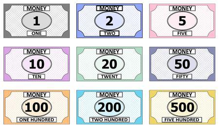 Satz Banknoten für das Spielen der Brettspiele vector Spielgeldrechnung für das Spielfamilienmonopolhaus