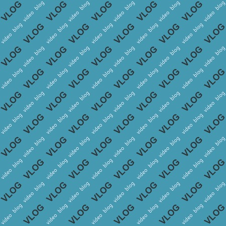 Background, video blog vlog word text angle vector seamless pattern for live stream  seamless background for television. Live stream vlog. Easy edit color