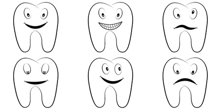 Set of cartoon teeth, the molars with the emotions on the face, tooth vector comic pop art style, smile, anger and fun, lnfographics chart, dental office Vectores