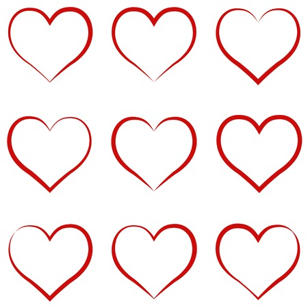 Heart outline red, set, symbol of the friendship and intimacy of Valentines Day. Illustration