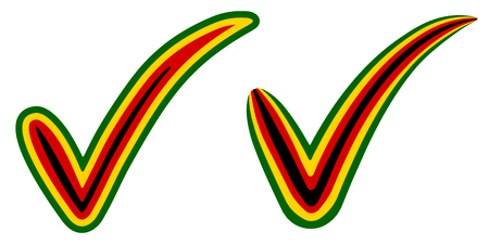 Check mark style Zimbabwe flag symbol elections, voting and approval, vector concept check mark Russian Zimbabwe tick zw, presidential elections Mugabe