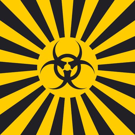 Biological hazard sign dangerous pop art style, vector sign Ionizing Biological yellow and black rays, glow, Hazard symbol warning Illustration