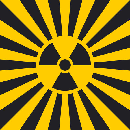 Sign dangerous Ionizing radiation pop art style, vector Ionizing radiation sign in yellow and black rays, glow, Hazard symbol background warning