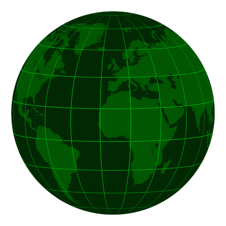 Earth globe model with continents and a coordinate grid.