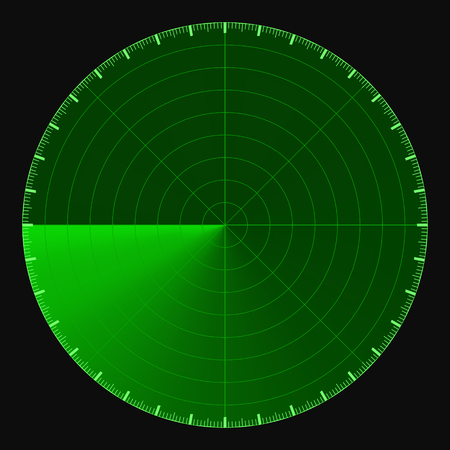 Green radar screen, circular 360 degree scale, vector template active scanning radar, sonar, concept search of moving objects Фото со стока - 91721612