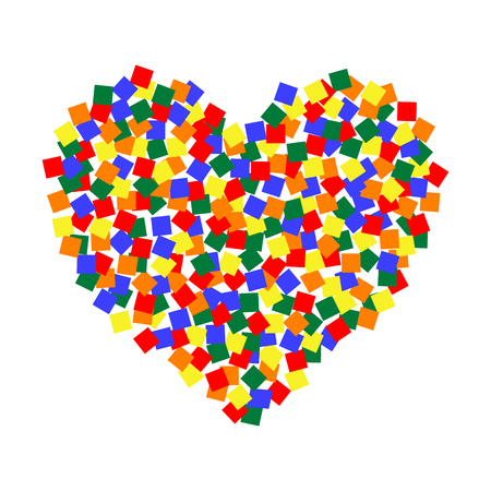 Colorful sticker forming a heart shape. Illustration