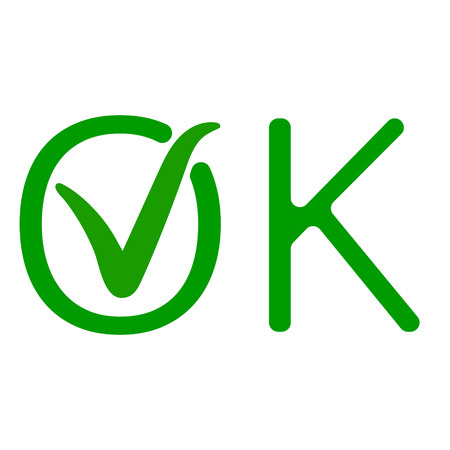 word OK with a green checkmark of approval, the approved sign vector icon green tick ok Illustration