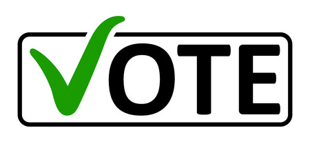 word Vote with a green check mark instead of the letter V in the box frame, vector the concept of elections the referendum the electorate, vote in a box.