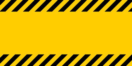 검은 색 및 노란색 경고 줄 스트라이프 사각형 배경, 대각선에 노란색과 검은 색 줄무늬, 잠재적 인 위험에주의하는 경고 벡터 템플릿 기호 테두리