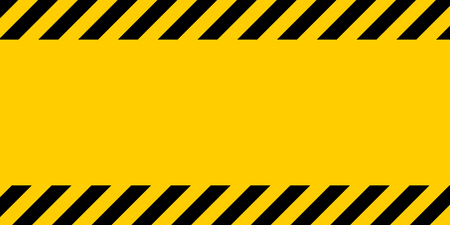 Black and yellow warning line striped rectangular background, yellow and black stripes on the diagonal, a warning to be careful of the potential danger vector template sign border