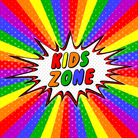 Colorful letters bubble Kids zone vector cartoon for decorating childrens playroom, pop art style rays Kids zone