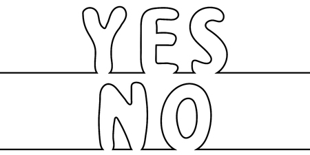 Text the word yes to no, one line drawing, vector cartoon letters yes no one line drawing stylus. Ilustração