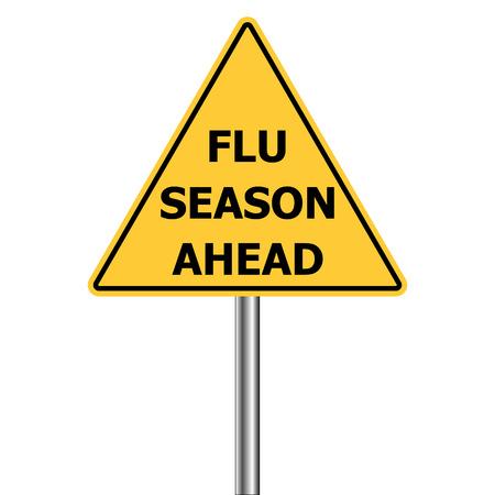 gele driehoek waarschuwingsbord, Let op - Griep Schoten vooruit, vector Griep Seizoen Waarschuwingsbord H1N1