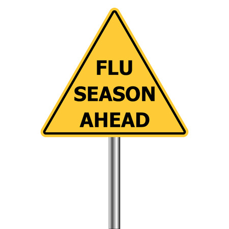 yellow triangle warning sign, Caution - Flu Shots Ahead, vector Flu Season Warning Sign H1N1 Illustration