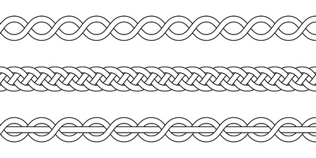 macrame crochet weaving, braid knot, vector knitted braided pattern of intersecting strands wicker Çizim