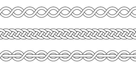 macrame haak weven, vlecht knoop, vector gebreide gevlochten patroon van elkaar kruisende strengen rieten Vector Illustratie