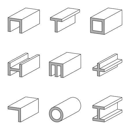 Steel cections icon, profiles, plates and tubes dimensions, properties, technical specifications, set vector line icon of steel pipe and beam product for construction industry work Ilustrace