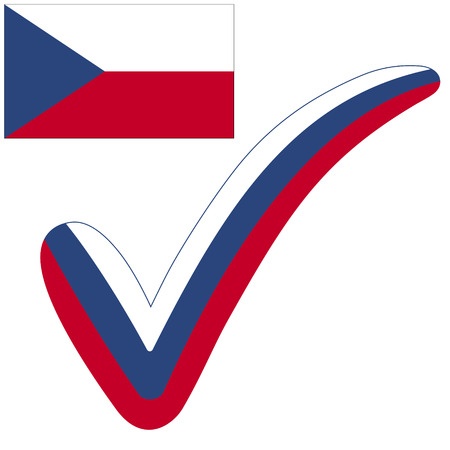 check mark style Czech Republic flag symbol elections, voting and approval, vector concept check mark Israel tick. Vectores