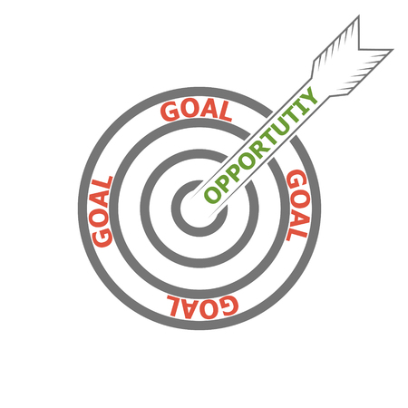 concept of achieving the goal using your opportunities opportunity, vector target and arrow marketing Icon, words opportunity and goal