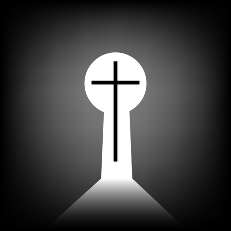 way to God, christian cross in the keyhole, view from the interior, vector illustration path to God