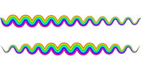 rainbow zigzag wavy spring symbol,   Vector illustration on white background.
