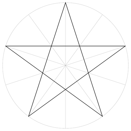 Correct form shape template of the geometric shape of the pentagram five pointed star. Vector drawing the pentagram in a circle by sector, template. Illustration