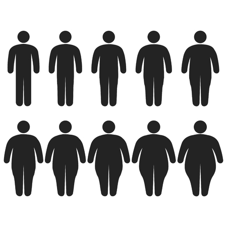 Set of icons human thick, thin, fat, body size, degree of obesity, vector of the proportions of the body from thin to fat, the concept of losing weight training fitness and sport template