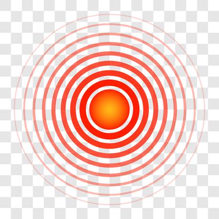 Ringkreise, die Zielfarbe des Blutes, das Zeichen eines Schmerzsymbols, durchscheinender Ringvektor, der auf die Quelle von Schmerzbeschwerden, medizinisches Anzeichen der Krankheit hinweist