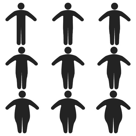 Set of icons human thick, thin, fat, body size, degree of obesity, vector of the proportions of the body from thin to fat, the concept of losing weight training obesity fitness and sport template Ilustração
